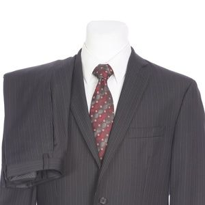 Calvin Klein Two Button Black Pinstripe Wool Suit